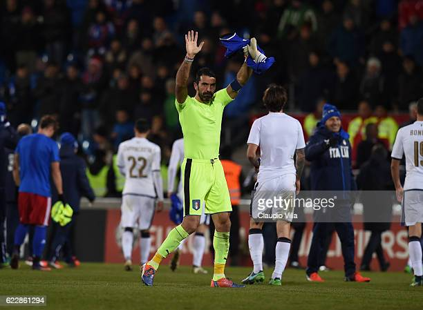 Gianluigi Buffon of Italy reacts at the end of the FIFA World Cup 2018 group G Qualifiers football match beetween Liechtenstein and Italy at the...