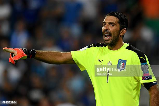 Gianluigi Buffon of Italy reacts during the FIFA 2018 World Cup Qualifier between Israel and Italy at Itztadion Sammy Ofer on September 5 2016 in...