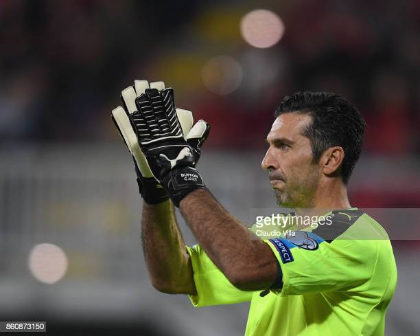 Gianluigi Buffon of Italy reacts during the FIFA 2018 World Cup Qualifier between Albania and Italy at Loro Borici Stadium on October 9 2017 in...