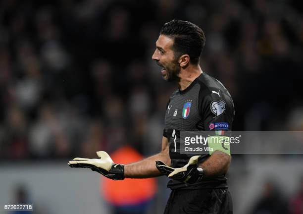 Gianluigi Buffon of Italy reacts during the FIFA 2018 World Cup Qualifier PlayOff First Leg between Sweden and Italy at Friends Arena on November 10...