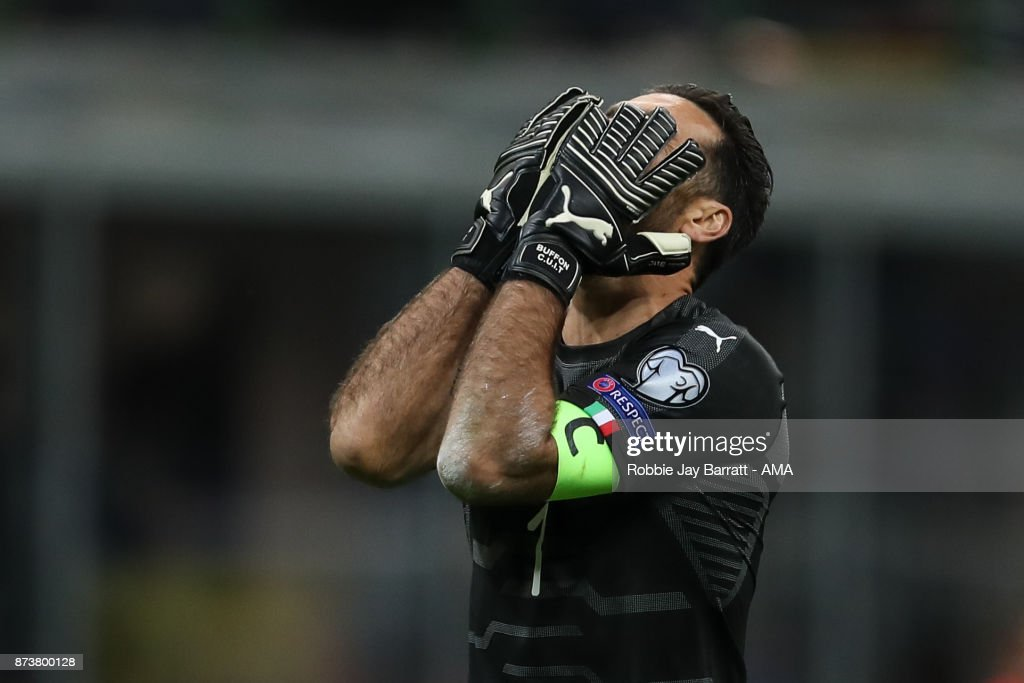 Gianluigi Buffon of Italy reacts during the FIFA 2018 World Cup Qualifier Play-Off: Second Leg between Italy and Sweden at San Siro Stadium on November 13, 2017 in Milan, .