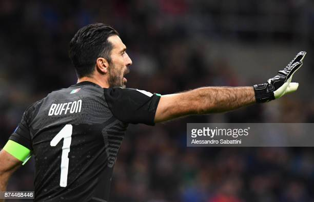 Gianluigi Buffon of Italy reacts during the FIFA 2018 World Cup Qualifier PlayOff Second Leg between Italy and Sweden at San Siro Stadium on November...