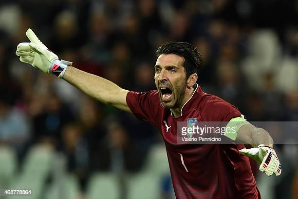 Gianluigi Buffon of Italy reacts during the international friendly match between Italy and England on March 31 2015 in Turin Italy