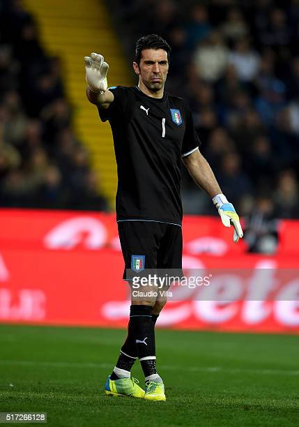 Gianluigi Buffon of Italy reacts during the international friendly match between Italy and Spain at Stadio Friuli on March 24 2016 in Udine Italy