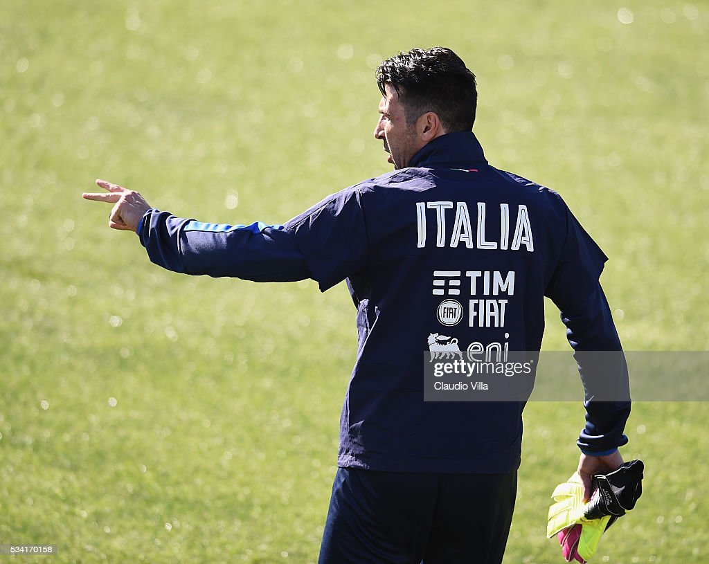 <a gi-track='captionPersonalityLinkClicked' href=/galleries/search?phrase=Gianluigi+Buffon&family=editorial&specificpeople=208860 ng-click='$event.stopPropagation()'>Gianluigi Buffon</a> of Italy reacts during the Italy training session at the club's training ground at Coverciano on May 25, 2016 in Florence, Italy.