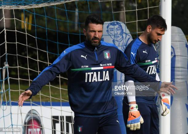 Gianluigi Buffon of Italy reacts during the training session at the club's training ground at Coverciano on March 22 2017 in Florence Italy