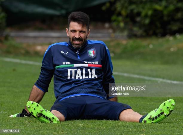 Gianluigi Buffon of Italy reacts during the training session at the club's training ground at Coverciano on March 23 2017 in Florence Italy