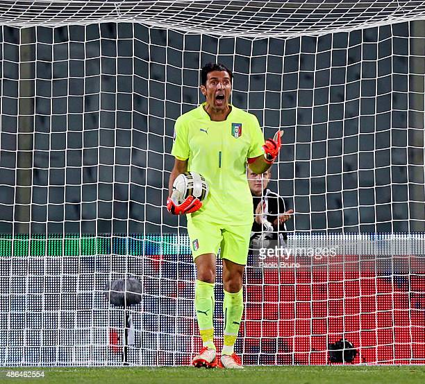 Gianluigi Buffon of Italy reacts during the UEFA EURO 2016 qualifier between Italy and Malta on September 3 2015 in Florence Italy