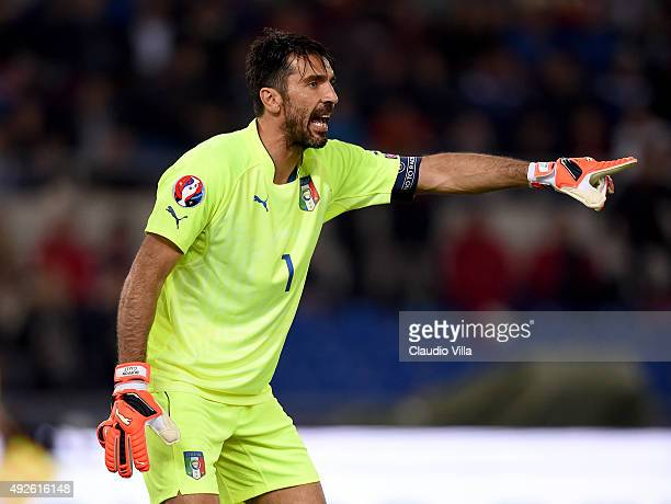 Gianluigi Buffon of Italy reacts during the UEFA EURO 2016 Qualifier between Italy and Norway at Olimpico Stadium on October 13 2015 in Rome Italy