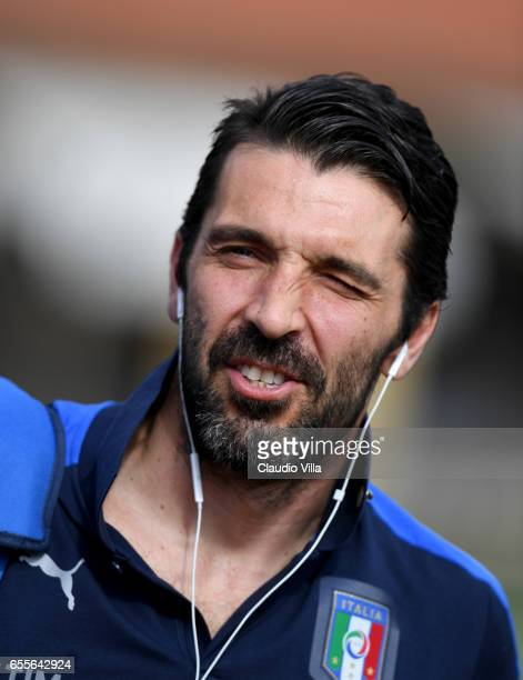 Gianluigi Buffon of Italy reatcs prior to the training session at the club's training ground at Coverciano on March 20 2017 in Florence Italy