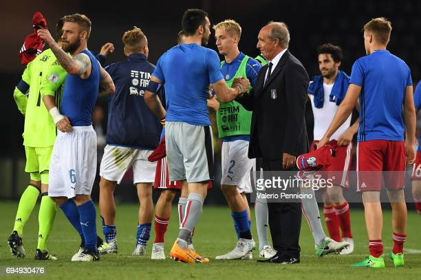 Gianluigi Buffon of Italy shakes hands with head coach Giampiero Ventura of Italy during the FIFA 2018 World Cup Qualifier between Italy and...
