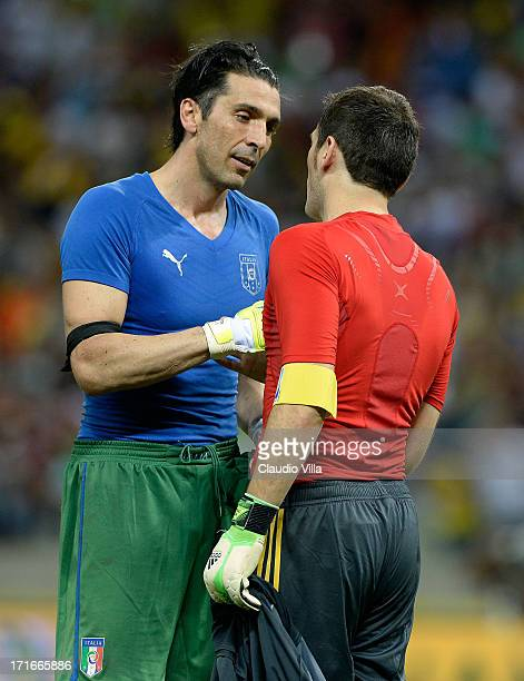 Gianluigi Buffon of Italy shakes hands with Iker Casillas of Spain at the end of a penalty shootout during the FIFA Confederations Cup Brazil 2013...