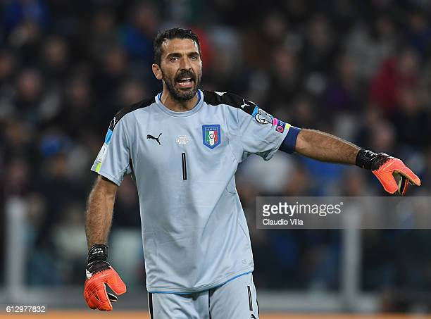 Gianluigi Buffon of Italy shouts during the FIFA 2018 World Cup Qualifier between Italy and Spain at Juventus Stadium on October 6 2016 in Turin Italy