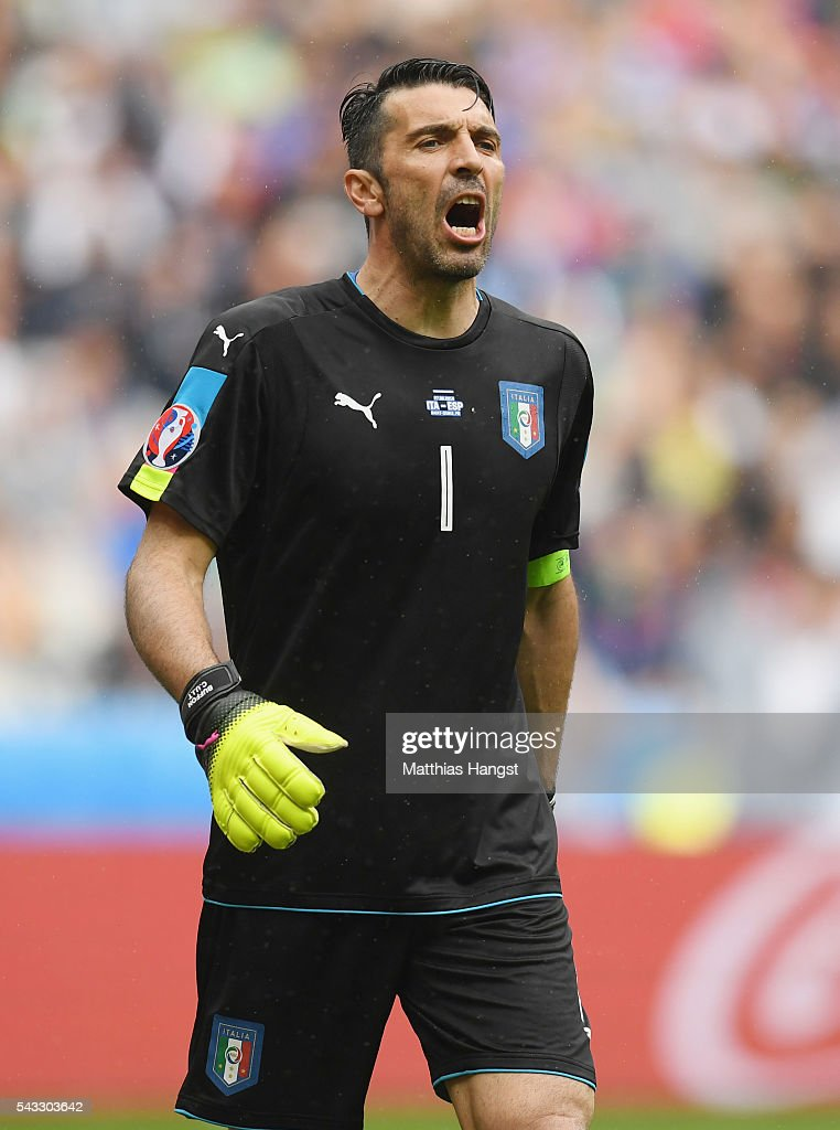 <a gi-track='captionPersonalityLinkClicked' href=/galleries/search?phrase=Gianluigi+Buffon&family=editorial&specificpeople=208860 ng-click='$event.stopPropagation()'>Gianluigi Buffon</a> of Italy shouts during the UEFA EURO 2016 round of 16 match between Italy and Spain at Stade de France on June 27, 2016 in Paris, France.