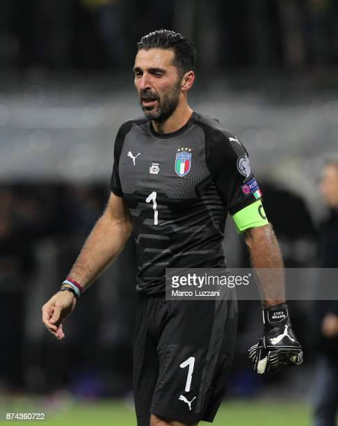 Gianluigi Buffon of Italy shows his dejection shows his dejection at the end of the FIFA 2018 World Cup Qualifier PlayOff Second Leg between Italy...