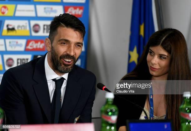 Gianluigi Buffon of Italy speaks with the media during the press conference at at Stadio Renzo Barbera on March 23 2017 in Palermo Italy