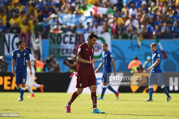 Gianluigi Buffon of Italy walks off the pitch after 01 defeat in the 2014 FIFA World Cup Brazil Group D match between Italy and Uruguay at Estadio...
