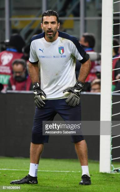 Gianluigi Buffon of Italy warms up before the FIFA 2018 World Cup Qualifier PlayOff Second Leg between Italy and Sweden at San Siro Stadium on...