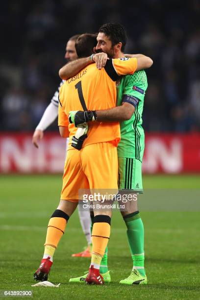 Gianluigi Buffon of Juventus and Iker Casillas of FC Porto embrace at the end of the UEFA Champions League Round of 16 first leg match between FC...