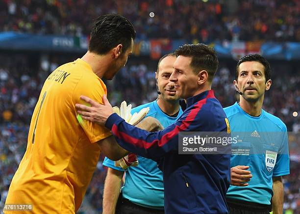 Gianluigi Buffon of Juventus and Lionel Messi of Barcelona shake hands during the UEFA Champions League Final between Juventus and FC Barcelona at...