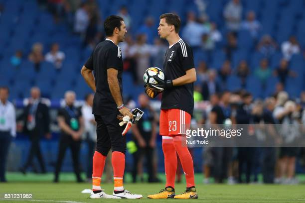 Gianluigi Buffon of Juventus and Wojciech Szczesny of Juventus during the Italian Supercup match between Juventus and SS Lazio at Stadio Olimpico on...