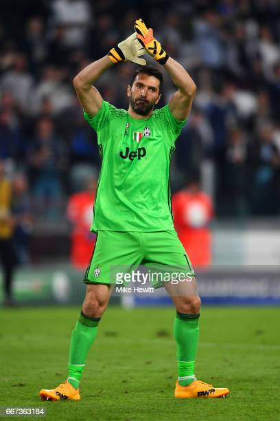 Gianluigi Buffon of Juventus applauds the fans after the UEFA Champions League Quarter Final first leg match between Juventus and FC Barcelona at...