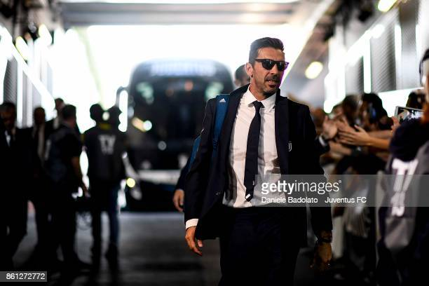 Gianluigi Buffon of Juventus arrives at Allianz Stadium before the Serie A match between Juventus and SS Lazio on October 14 2017 in Turin Italy