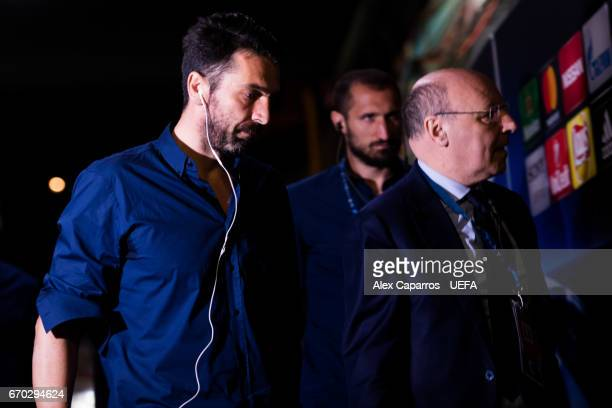 Gianluigi Buffon of Juventus arrives to the stadium ahead of the UEFA Champions League Quarter Final second leg match between FC Barcelona and...