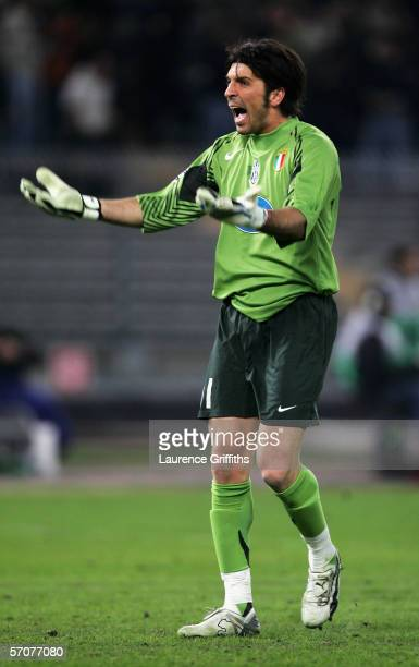 Gianluigi Buffon of Juventus celebrates a goal during the UEFA Champions League First KnockOut Round Second Leg match between Juventus and Werder...