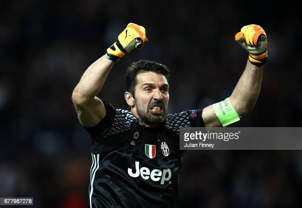 Gianluigi Buffon of Juventus celebrates after Gonzalo Higuain scores his sides second goal during the UEFA Champions League Semi Final first leg...