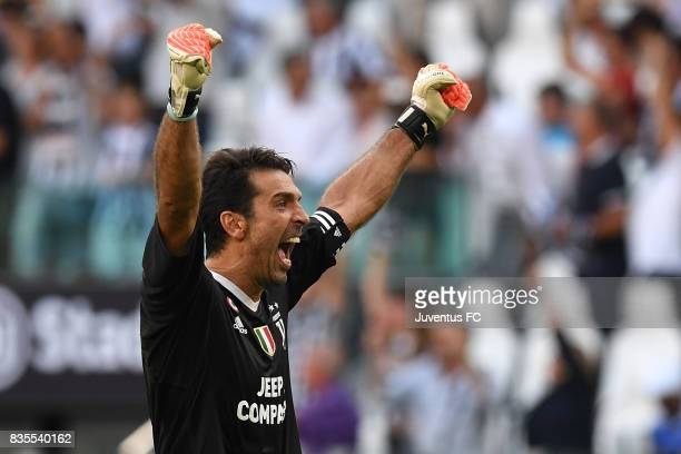 Gianluigi Buffon of Juventus celebrates during the Serie A match between Juventus and Cagliari Calcio at Allianz Stadium on August 19 2017 in Turin...