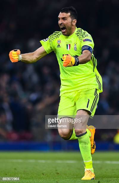 Gianluigi Buffon of Juventus celebrates his side first goal during the UEFA Champions League Final between Juventus and Real Madrid at National...