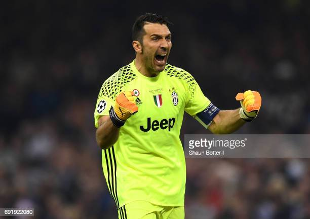Gianluigi Buffon of Juventus celebrates his sides first goal during the UEFA Champions League Final between Juventus and Real Madrid at National...