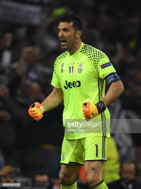 Gianluigi Buffon of Juventus celebrates his side's first goal during the UEFA Champions League final match between Juventus and Real Madrid at...