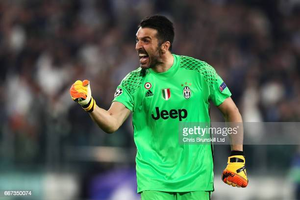 Gianluigi Buffon of Juventus celebrates his team's third goal during the UEFA Champions League Quarter Final first leg match between Juventus and FC...