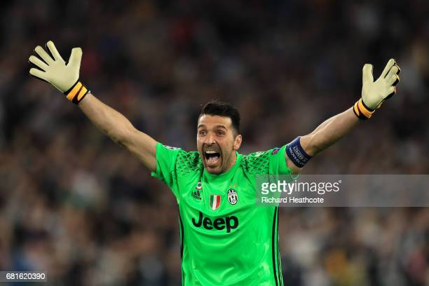 Gianluigi Buffon of Juventus celebrates the first goal during the UEFA Champions League Semi Final second leg match between Juventus and AS Monaco at...