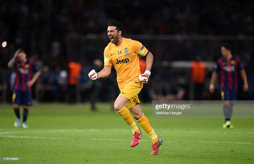Gianluigi Buffon of Juventus celebrates the goal scored by Alvaro Morata during the UEFA Champions League Final between Juventus and FC Barcelona at...