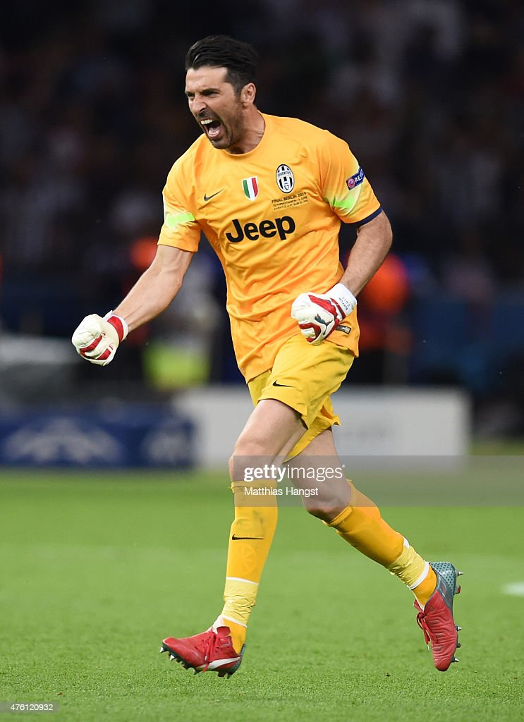 <a gi-track='captionPersonalityLinkClicked' href=/galleries/search?phrase=Gianluigi+Buffon&family=editorial&specificpeople=208860 ng-click='$event.stopPropagation()'>Gianluigi Buffon</a> of Juventus celebrates the goal scored by Alvaro Morata during the UEFA Champions League Final between Juventus and FC Barcelona at Olympiastadion on June 6, 2015 in Berlin, Germany.