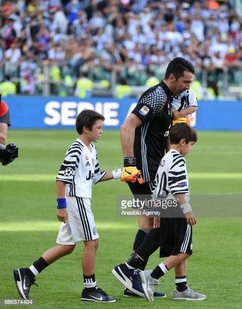 Gianluigi Buffon of Juventus celebrates the Italian Serie A championship after winning the Italian Serie A soccer match between Juventus FC and FC...