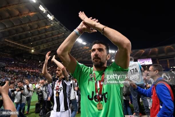 Gianluigi Buffon of Juventus celebrates the victory after the TIM Cup final football match against SS Lazio at Stadio Olimpico on May 172017 in Rome...