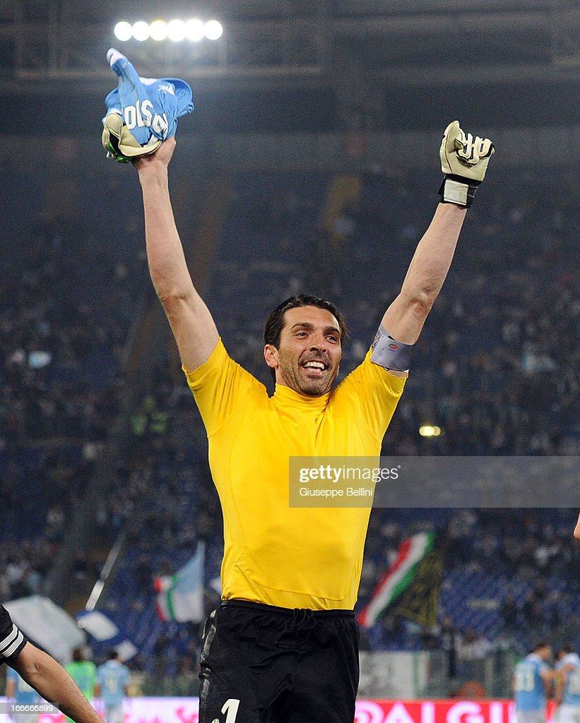 <a gi-track='captionPersonalityLinkClicked' href=/galleries/search?phrase=Gianluigi+Buffon&family=editorial&specificpeople=208860 ng-click='$event.stopPropagation()'>Gianluigi Buffon</a> of Juventus celebrates their victory after the Serie A match between S.S. Lazio and Juventus at Stadio Olimpico on April 15, 2013 in Rome, Italy.