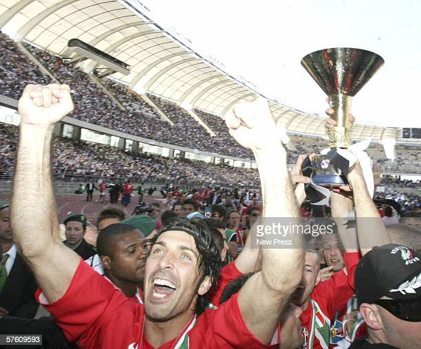 Gianluigi Buffon of Juventus celebrates winning the match and championship title after the Serie A match between Reggina and Juventus at the Stadio...