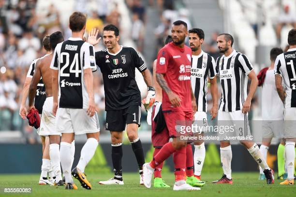 Gianluigi Buffon of Juventus celebrates with team mates at the end of the Serie A match between Juventus and Cagliari Calcio at Allianz Stadium on...