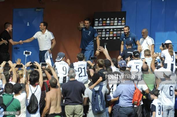 Gianluigi Buffon of Juventus cheers fans before the preseason friendly match between Juventus A and Juventus B on August 17 2017 in Villar Perosa...