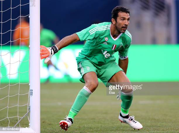 Gianluigi Buffon of Juventus defends his goal in the first half against Barcelona during the International Champions Cup 2017 on July 22 2017 at...