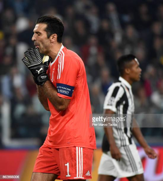 Gianluigi Buffon of Juventus disappointed after the goalduring the UEFA Champions League group D match between Juventus and Sporting CP at Juventus...