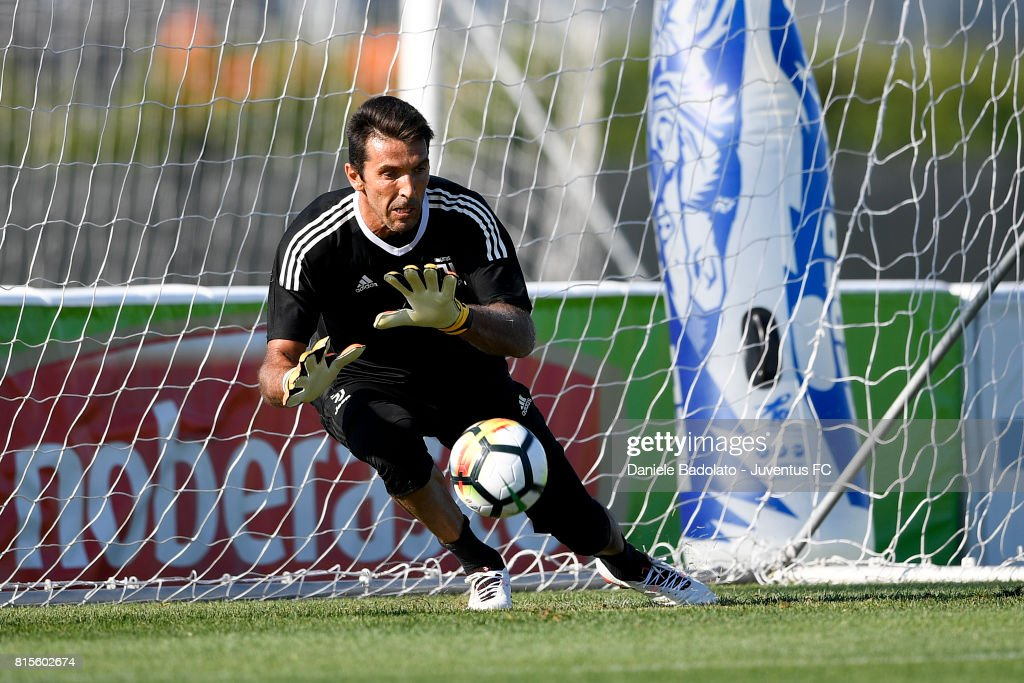 Gianluigi Buffon of Juventus during a training session on July 16, 2017 in Vinovo, Italy.
