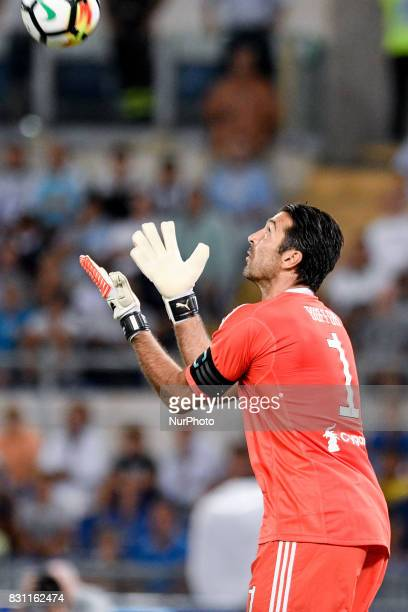 Gianluigi Buffon of Juventus during the Italian Supercup Final match between Juventus and Lazio at Stadio Olimpico Rome Italy on 13 August 2017