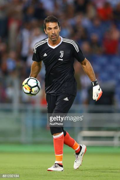 Gianluigi Buffon of Juventus during the Italian Supercup match between Juventus and SS Lazio at Stadio Olimpico on August 13 2017 in Rome Italy