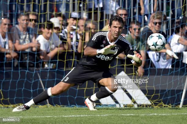 Gianluigi Buffon of Juventus during the preseason friendly match between Juventus A and Juventus B on August 17 2017 in Villar Perosa Italy